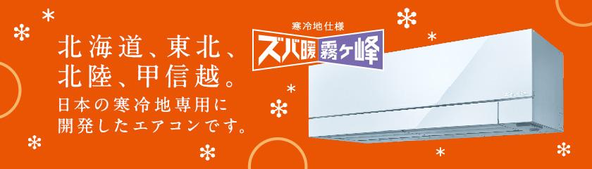 北海道、東北、北陸、甲信越。日本の寒冷地専用に開発したエアコンです。寒冷地仕様 ズバ暖霧ヶ峰